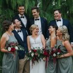 Sage green with deep red tones for wedding colors