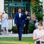 Groom enters his surprise wedding